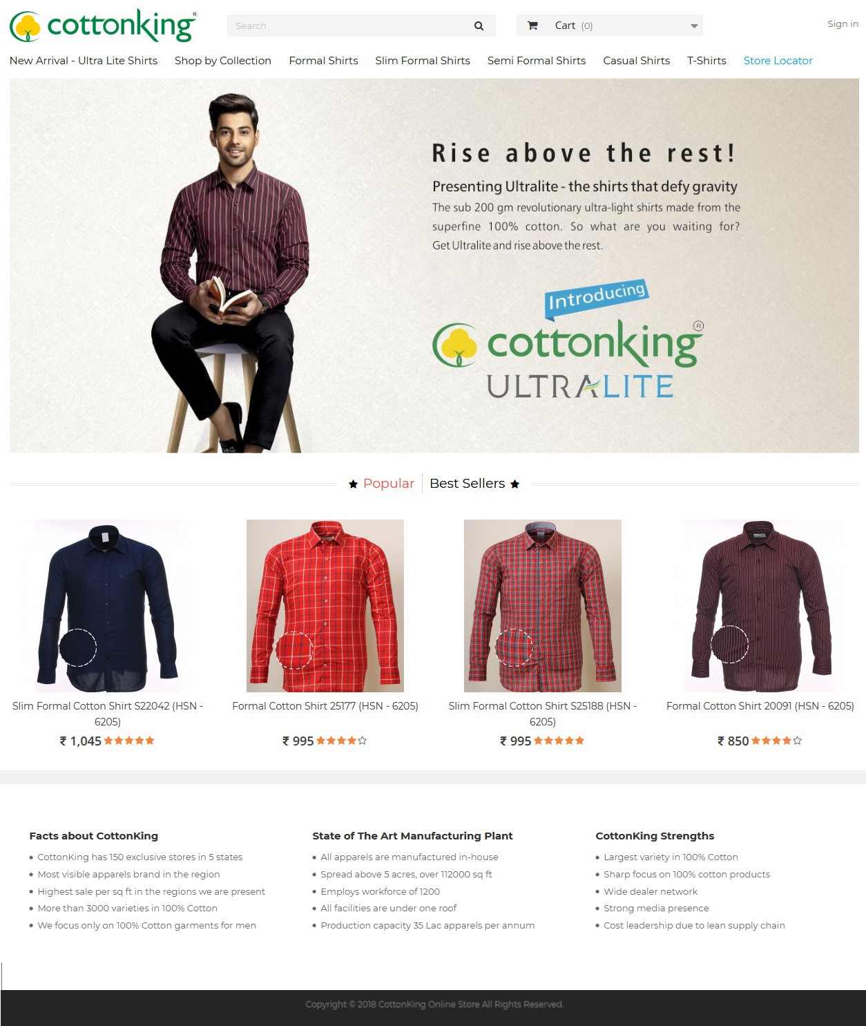 CottonKing Ecommerce Website Homepage