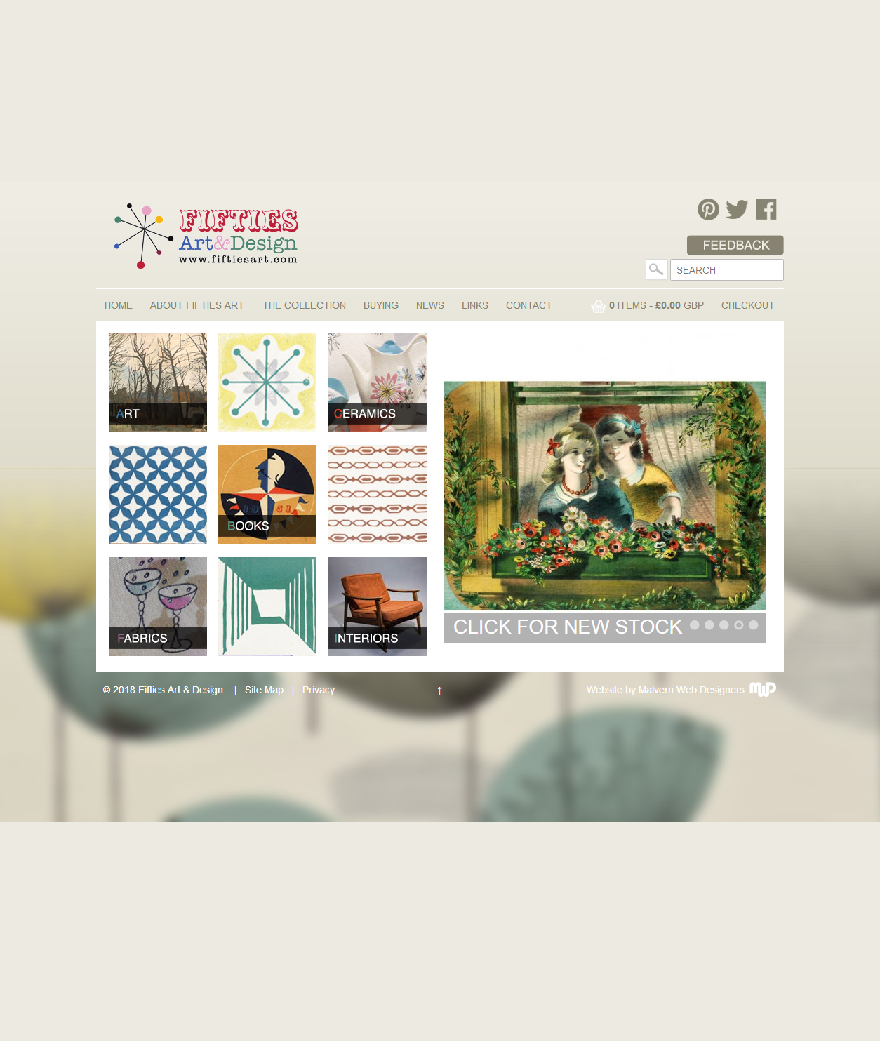 FiftiesArt.com Ecommerce Website Homepage