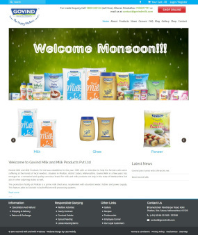 GovindMilk.com Website Homepage