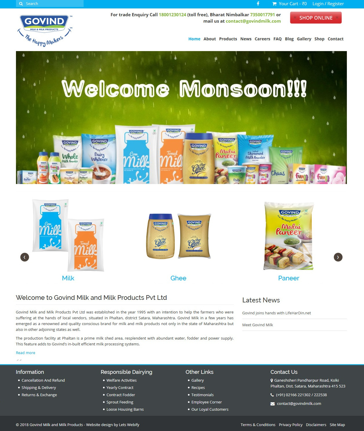 Govind Milk Website Homepage