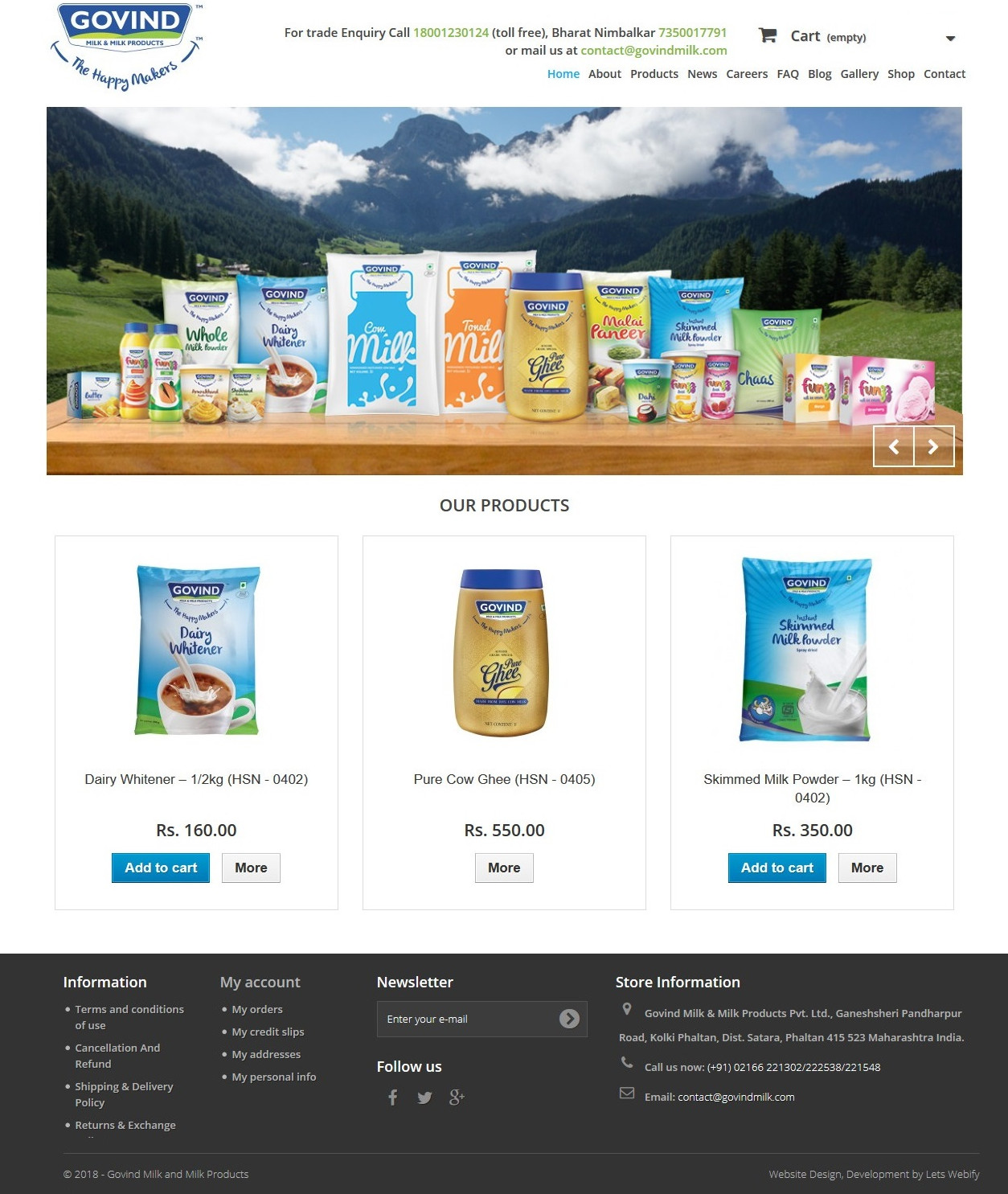 Govind Milk Ecommerce Website Homepage