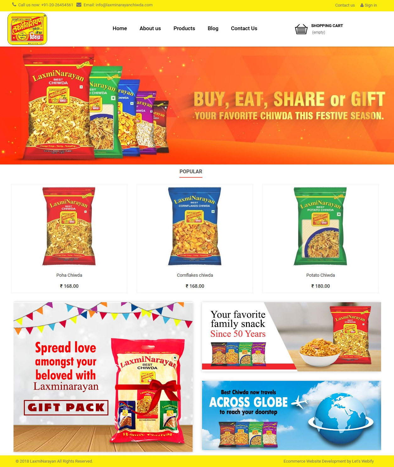 LaxmiNarayan Chiwda Ecommerce Website Homepage