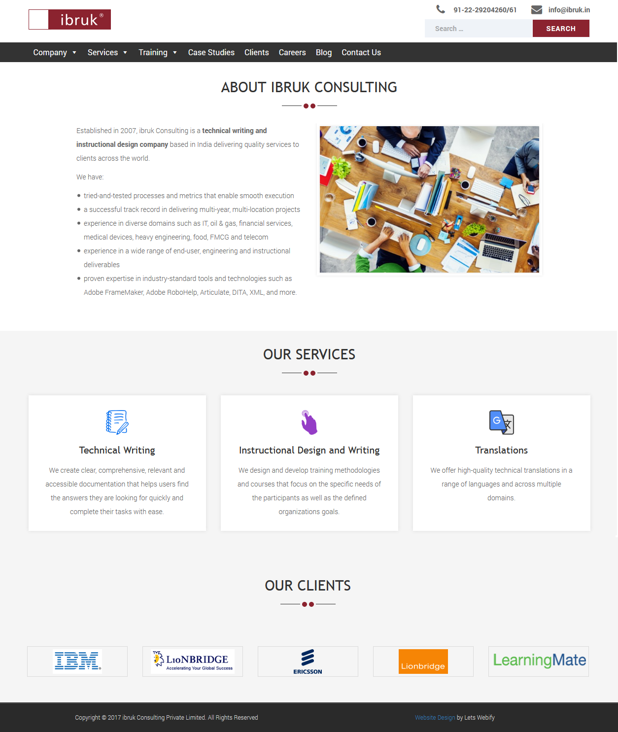iBruk Website Homepage