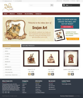 SrujanArt.com Ecommerce Website Homepage