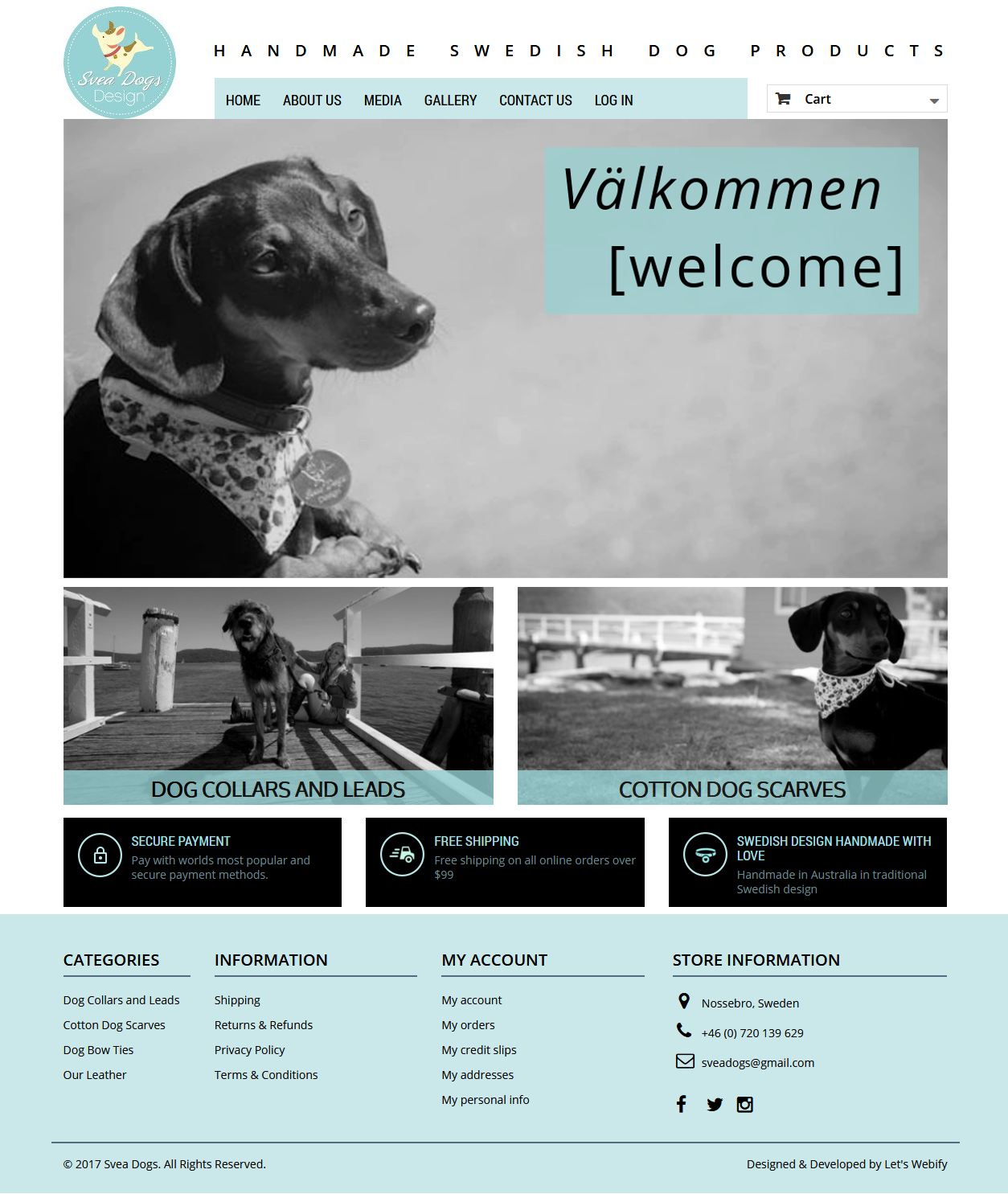 SveaDogs.com Ecommerce Website Homepage