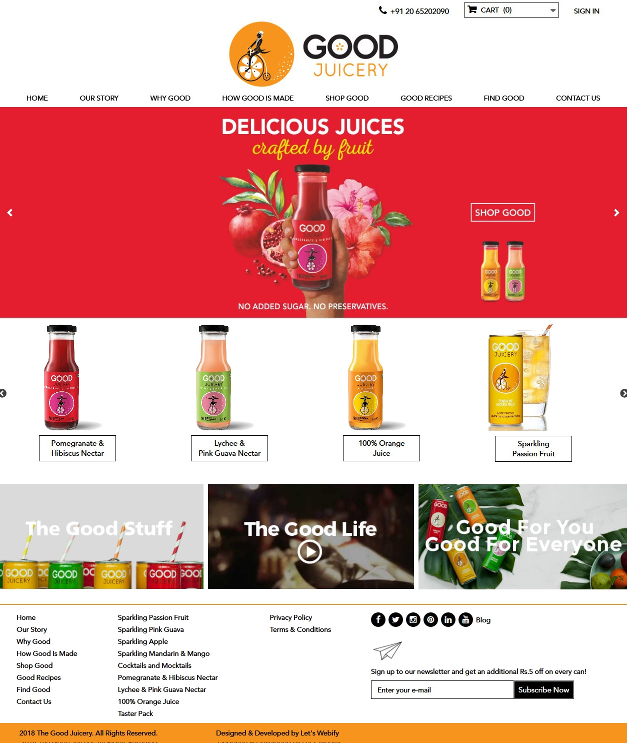 TheGoodJuicery Ecommerce Website Homepage